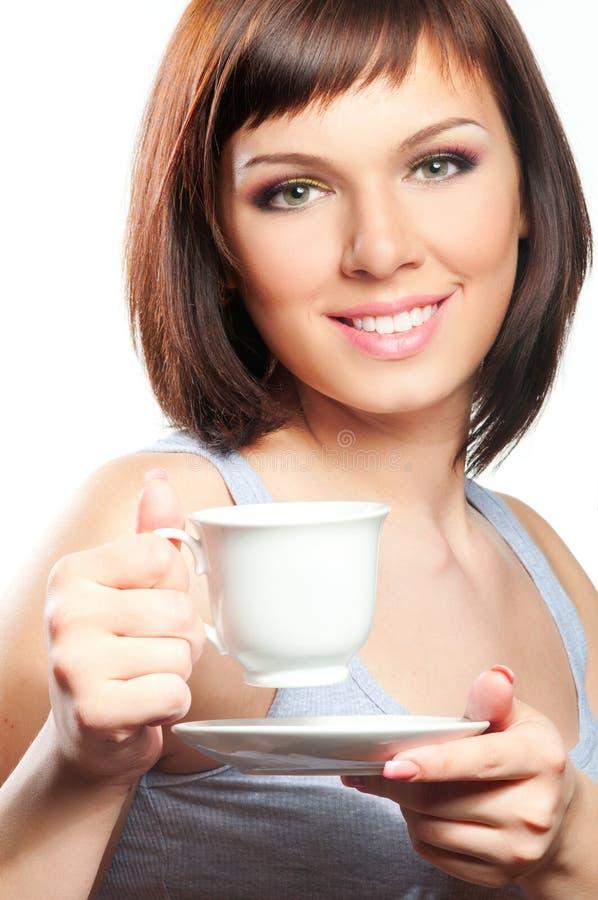 Frau mit Kaffee des Tees lizenzfreies stockbild