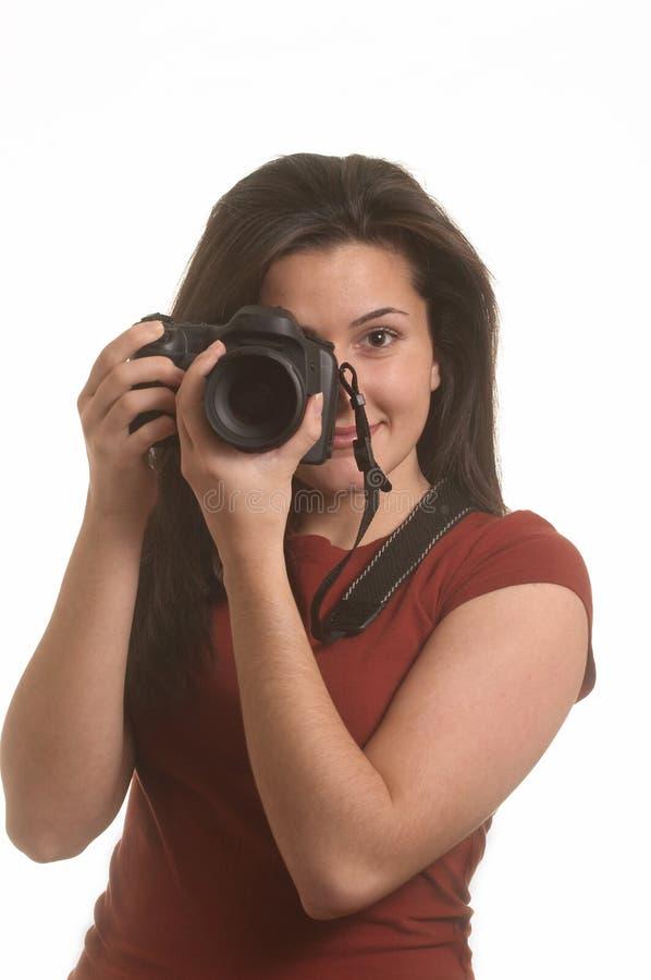 Frau mit Kamera stockbilder