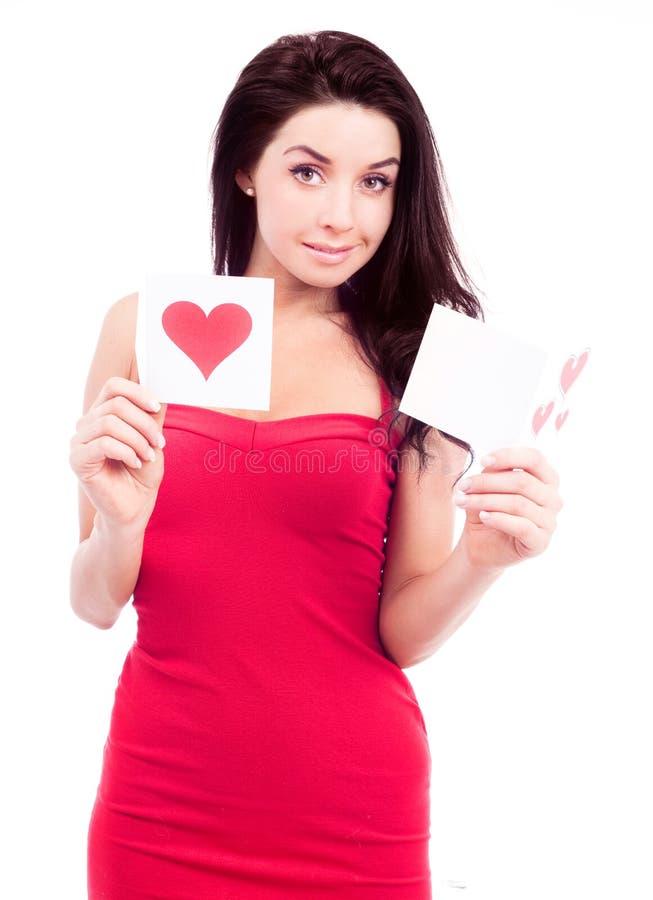 Frau mit Karten lizenzfreies stockbild