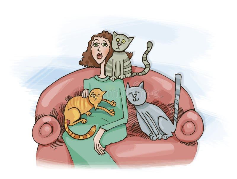 Frau mit Katzen stock abbildung