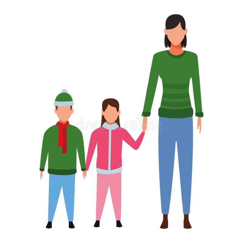 Frau mit Kindern lizenzfreie abbildung