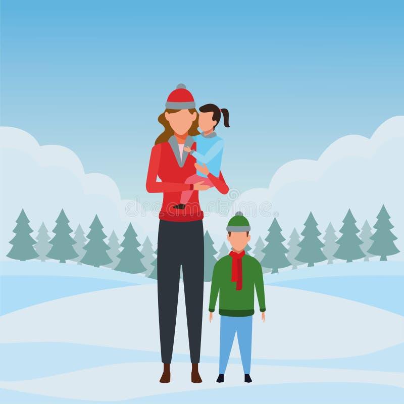 Frau mit Kindern vektor abbildung