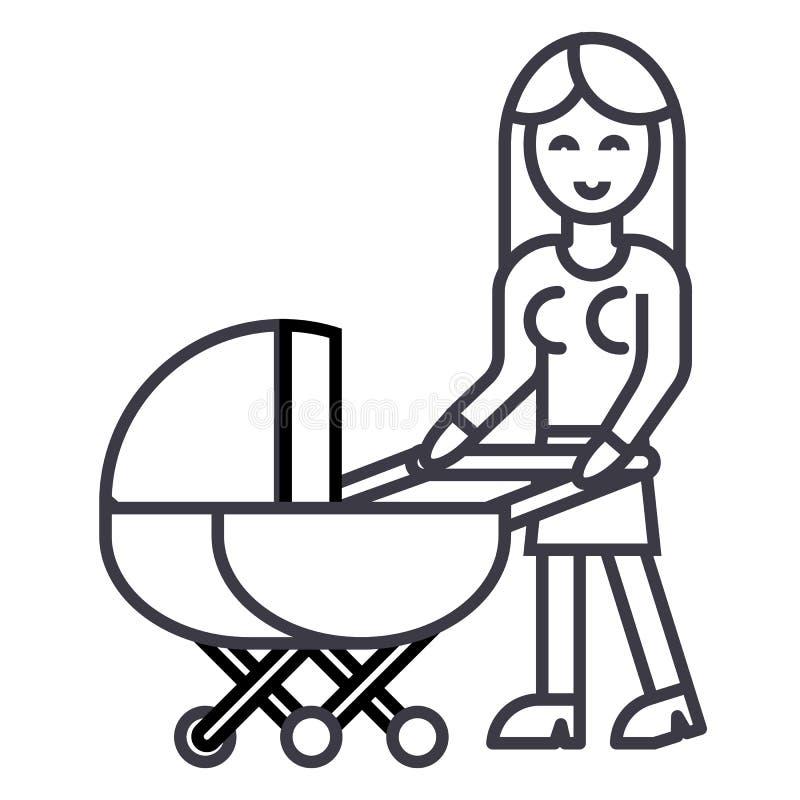 Frau mit Kinderwagenvektorlinie Ikone, Zeichen, Illustration auf Hintergrund, editable Anschläge vektor abbildung