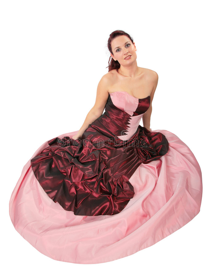 Frau mit Kleid mit Krinoline stockbilder