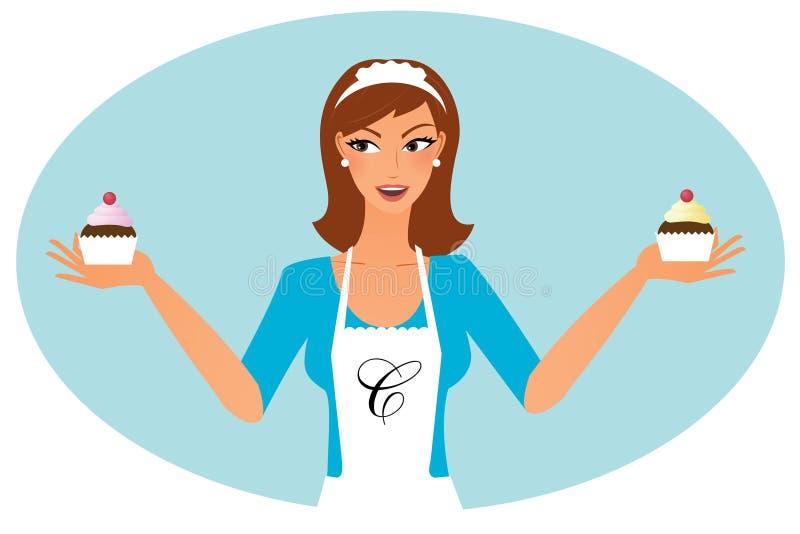 Frau mit kleinen Kuchen vektor abbildung