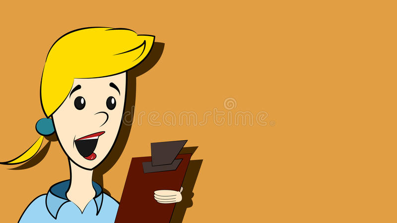 Download Frau mit Klemmbrett stock abbildung. Illustration von klemmbrett - 96928113