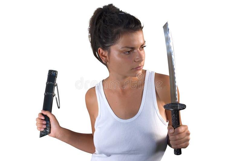 Frau mit Klinge lizenzfreies stockfoto