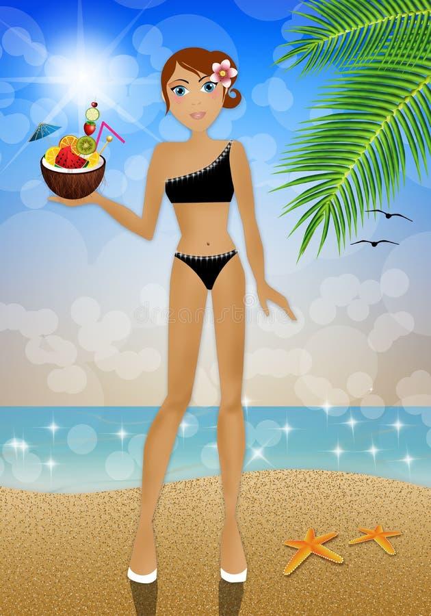 Frau mit Kokosnusscocktail stock abbildung
