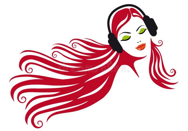 Frau mit Kopfhörern,   stock abbildung