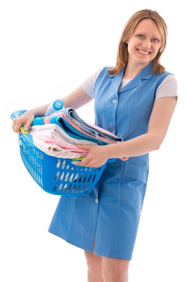 Frau mit Korb der Wäscherei stockbilder