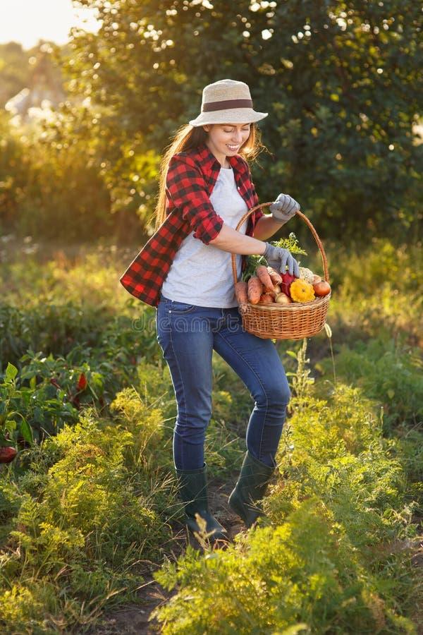 Frau mit Korb des Gemüses stockbild