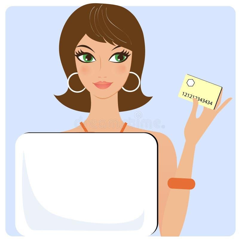 Frau mit Kreditkarte stock abbildung
