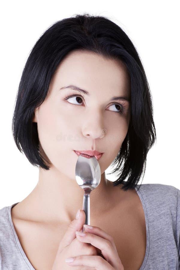 Download Frau Mit Löffel In Ihrem Mund Stockfoto - Bild von gesund, appetitanregend: 27730082
