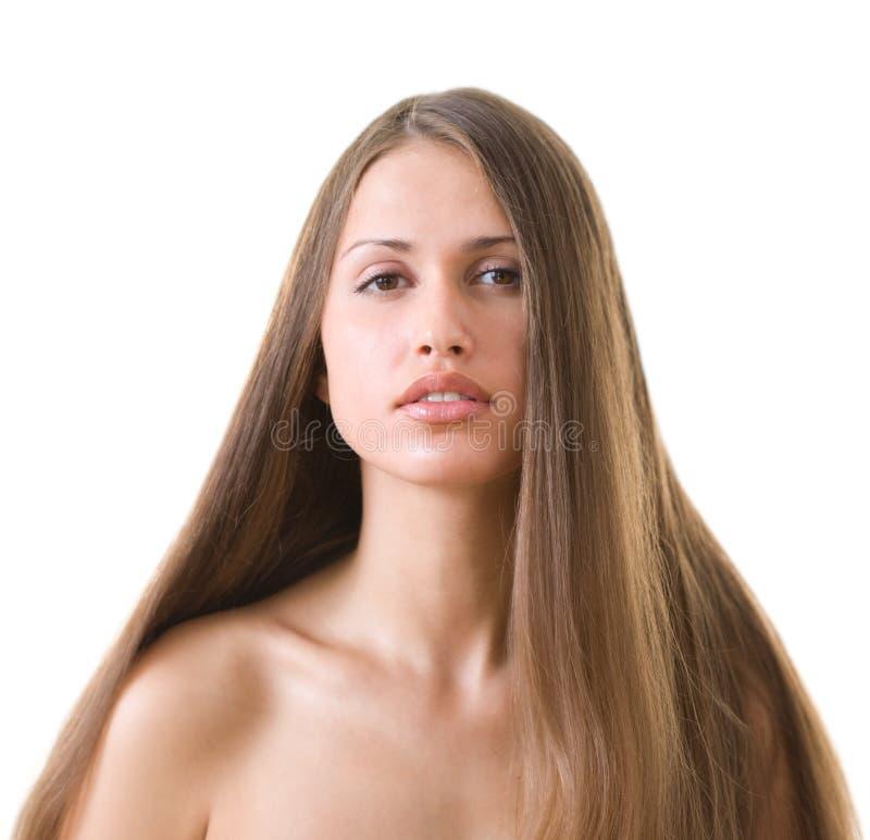 Frau mit L langes Haar lizenzfreie stockfotografie