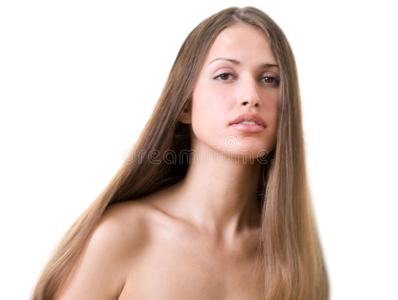 Frau mit L langes Haar lizenzfreies stockbild