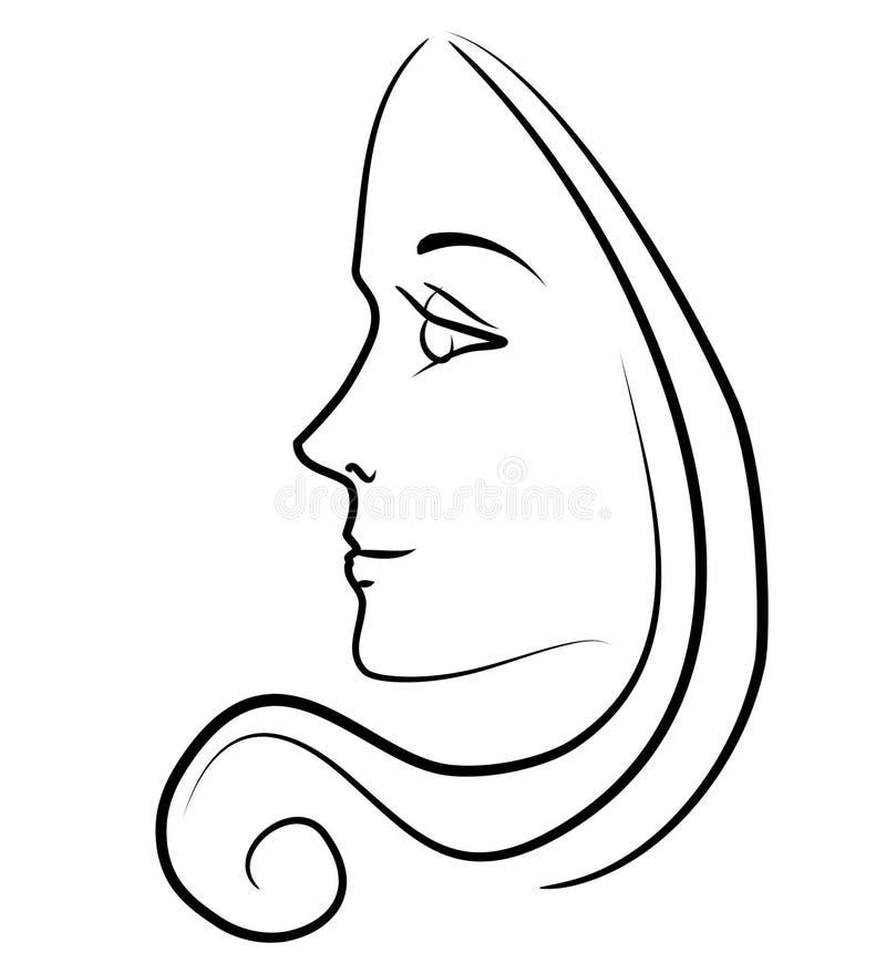 Frau mit langer Haar-umreiß stock abbildung