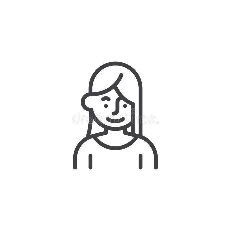 Frau mit langer Haarlinie Ikone vektor abbildung