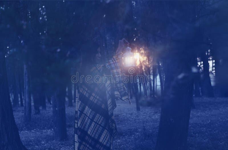 Frau mit Laterne gehend in den nebelhaften Wald stockfotografie