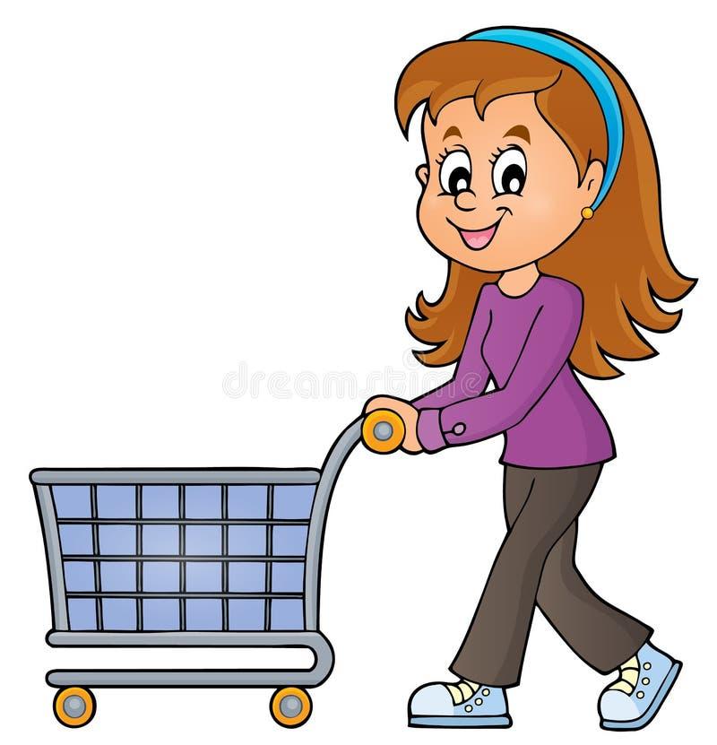Frau mit leerem Einkaufswagen stock abbildung