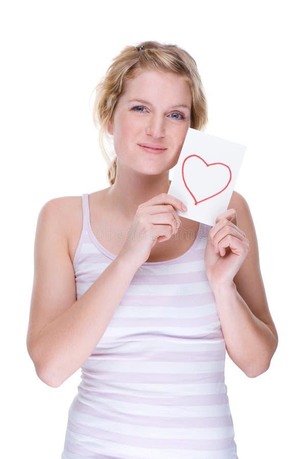 Frau mit Liebesbrief stockfotos