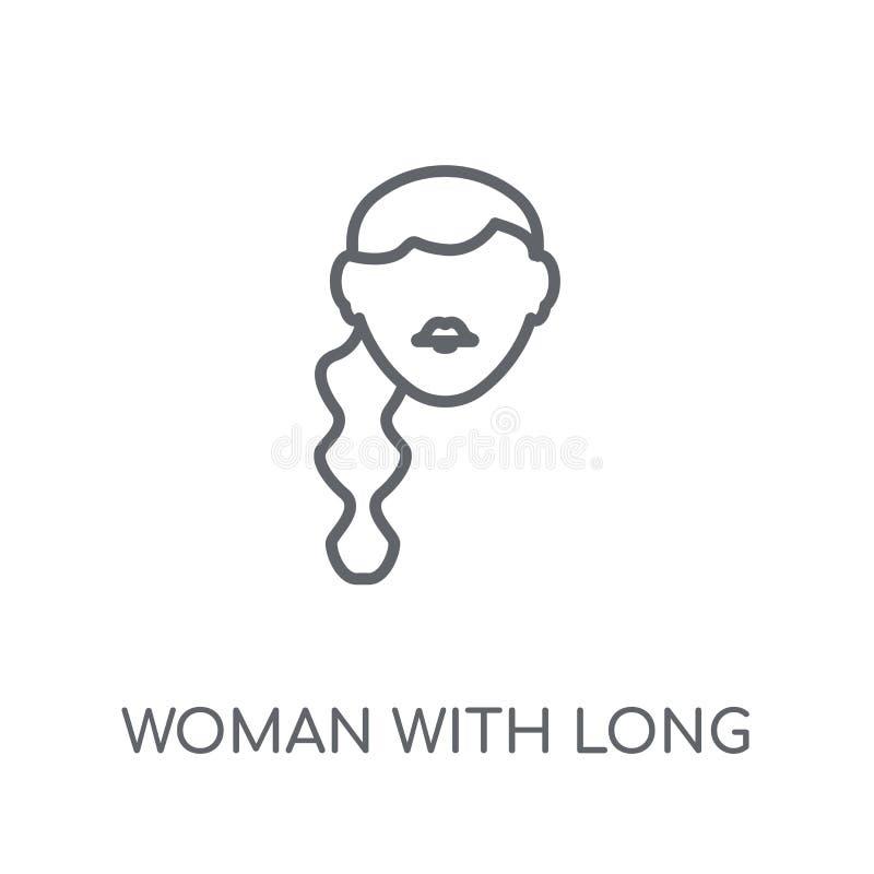 Frau mit linearer Ikone des langen Haares Moderne Entwurf Frau mit langem lizenzfreie abbildung