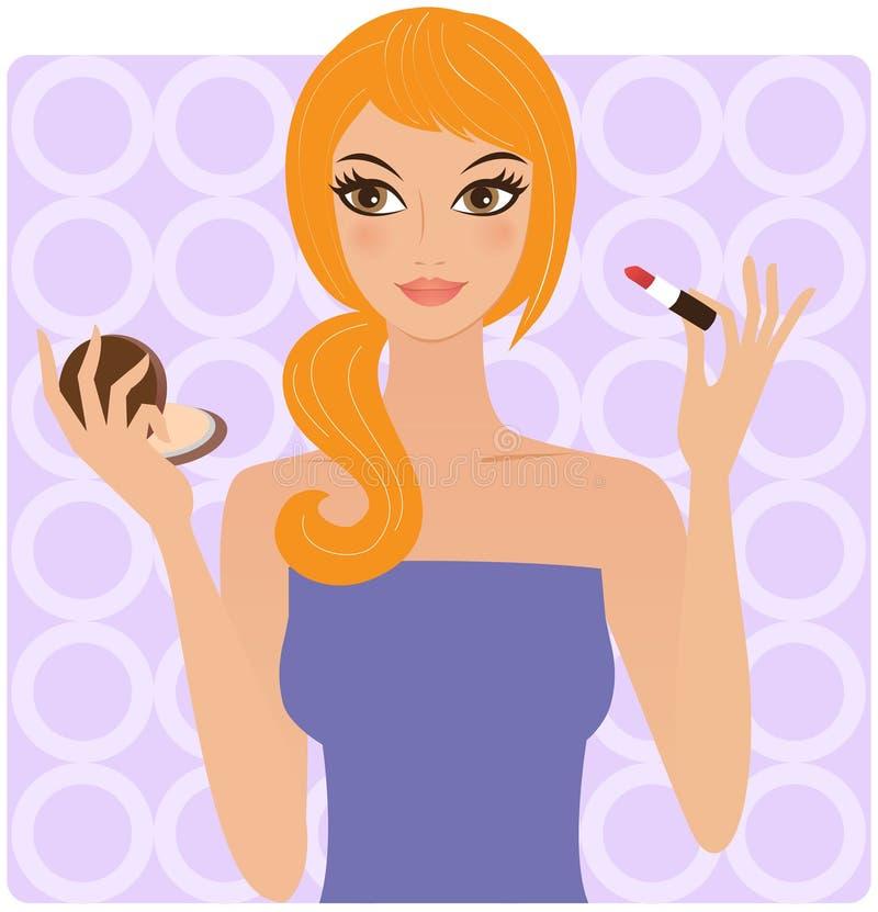 Frau mit Lippenstift stock abbildung