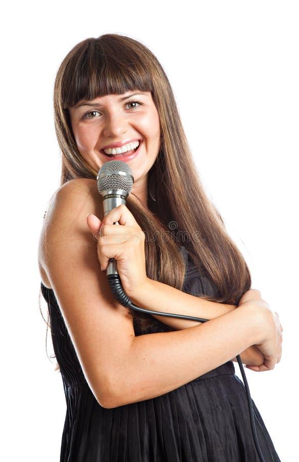 Frau mit Mikrofon stockbilder