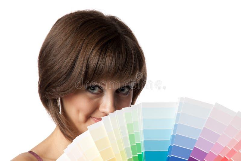 Frau mit Palette stockbilder