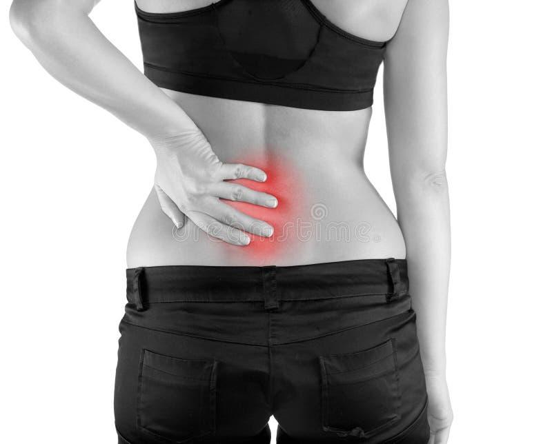 Frau mit Palme herum zurück zu Showschmerz- und -verletzungsan Rückseite stockbilder