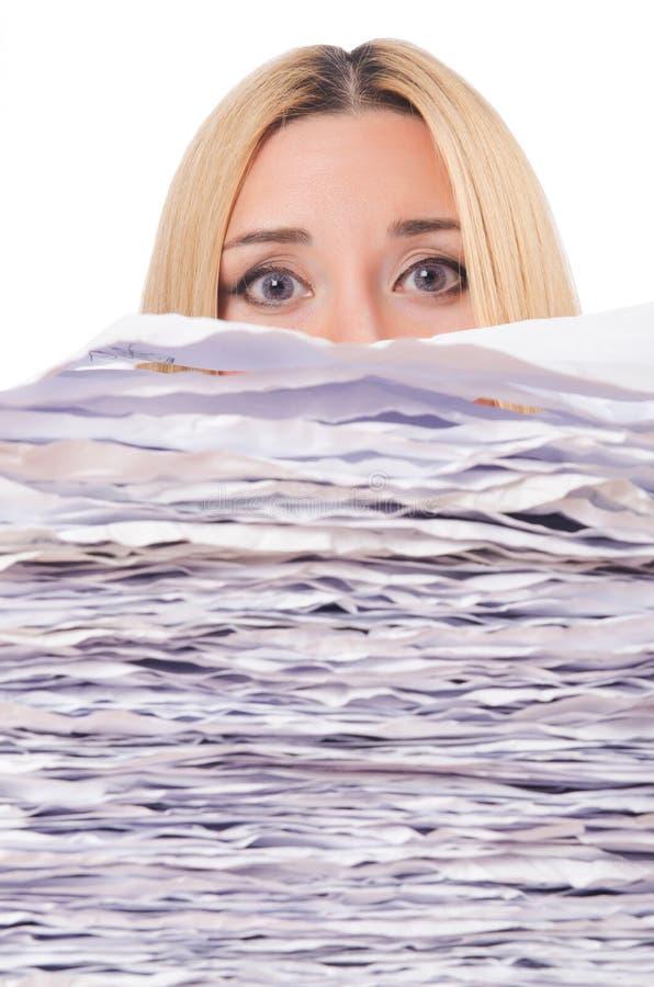Frau mit Papieren lizenzfreie stockfotografie