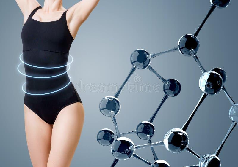 Frau mit perfektem Körper im Badeanzug nahe Glasmolekülkette lizenzfreie stockfotos