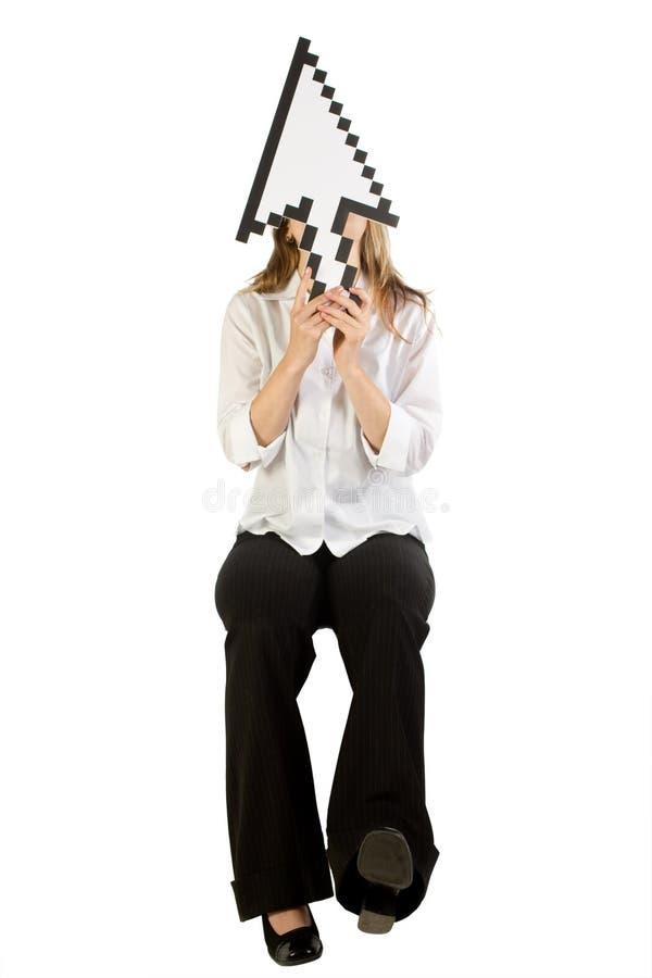 Frau mit Pfeilcursor stockbilder