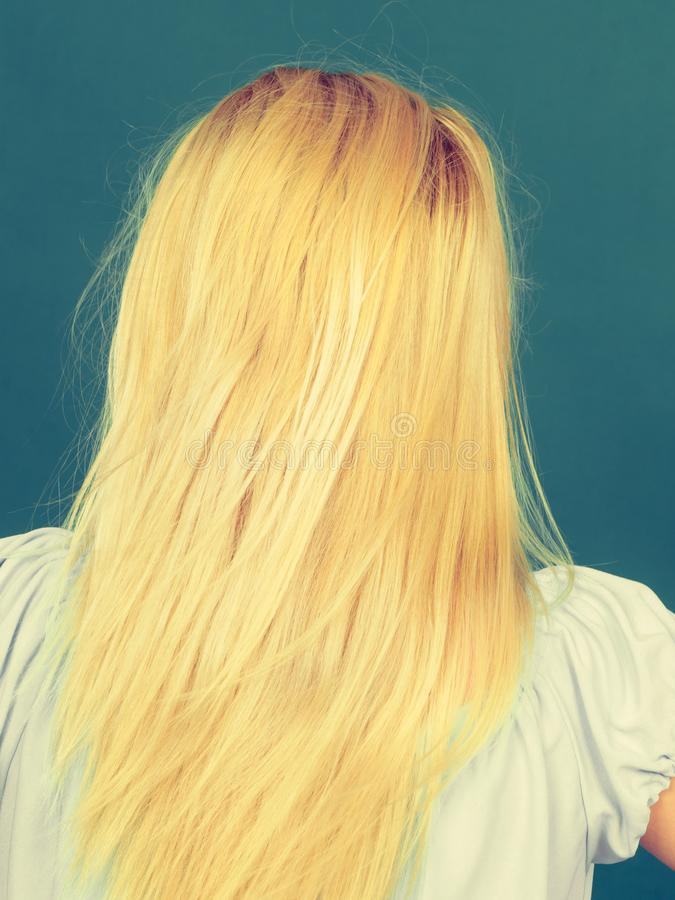 Frau mit Rückseitenansicht des blonden Haares stockfoto