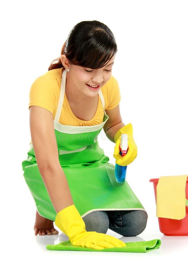 Frau mit Reinigungsausrüstung stockbild