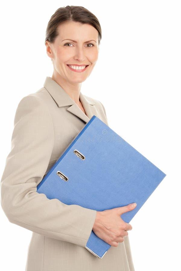 Frau mit Ringmappe lizenzfreies stockfoto