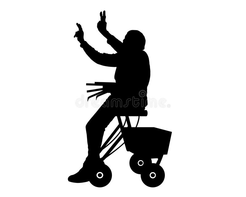 Frau mit rollator stock abbildung