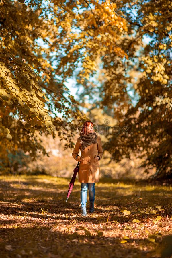 Frau mit rotem Regenschirm gehend auf Herbststadtpark Schönes f stockfoto