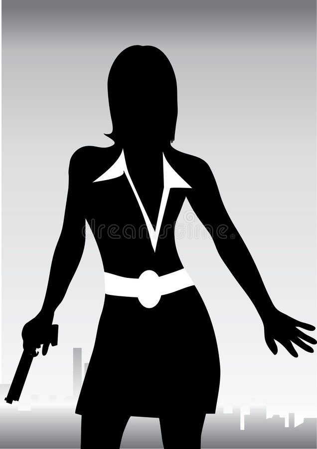 Frau mit rotieren lizenzfreie abbildung