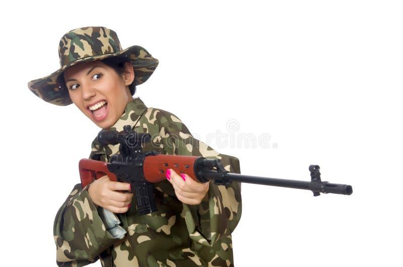 Frau mit Scharfschütze weapong lokalisiert auf Weiß lizenzfreie stockbilder
