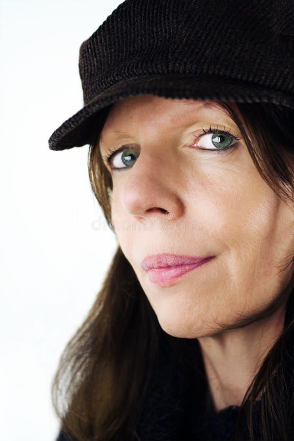 Frau mit Schutzkappe lizenzfreie stockfotografie