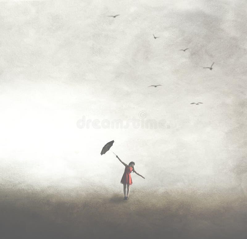 Frau mit schwarzem Regenschirm frei gehend in das Freien stockbild