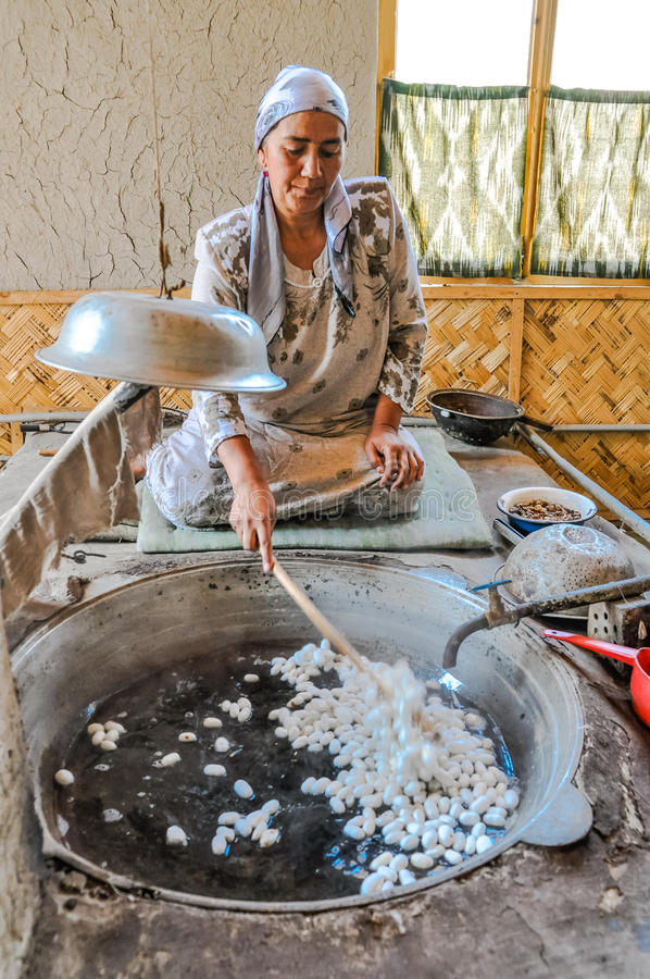 Frau mit Seidenraupekokons in Usbekistan lizenzfreies stockbild