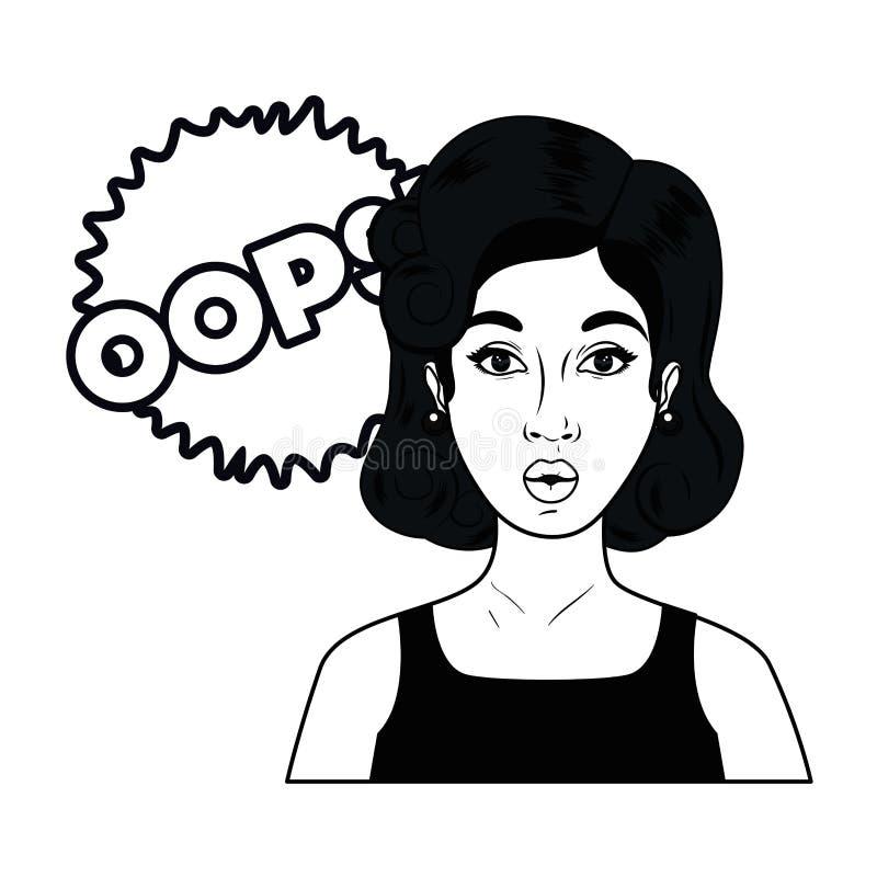 Frau mit Spracheblase ?ber komisches lizenzfreie abbildung