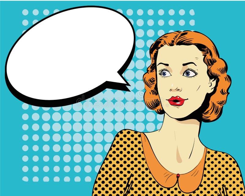 Frau mit Spracheluftblase Vektorillustration in der Retro- Pop-Arten-Art der Comics lizenzfreie abbildung