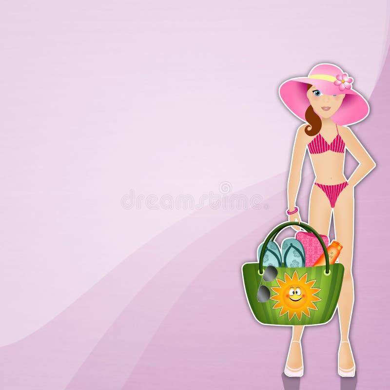 Frau mit Strandtasche vektor abbildung