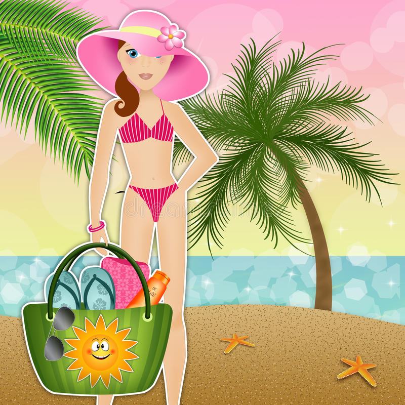 Frau mit Strandtasche stock abbildung
