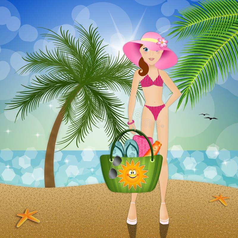 Frau mit Strandtasche auf dem Strand vektor abbildung