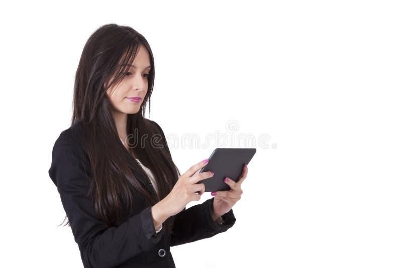 Frau mit Tablette stockbilder