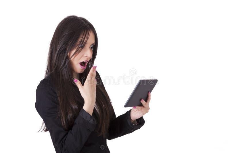 Frau mit Tablette lizenzfreies stockbild