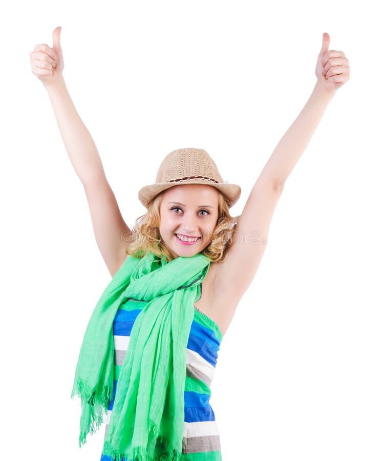 Frau mit Tasche in Mode stockfoto